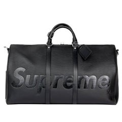 2017 Louis Vuitton Supreme Black Epi Leather Keepall Bandouliere