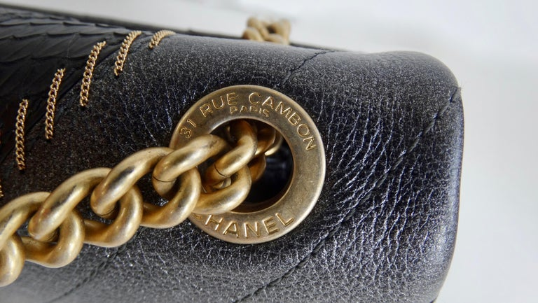 2017 Rare Chanel Mixed Leathers Classic Single Flap Bag  6