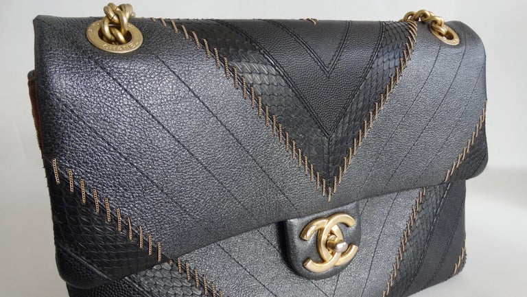 2017 Rare Chanel Mixed Leathers Classic Single Flap Bag  8
