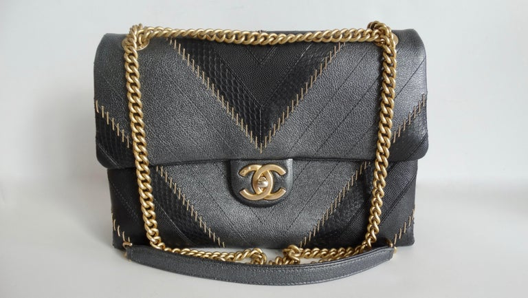 2017 Rare Chanel Mixed Leathers Classic Single Flap Bag  10