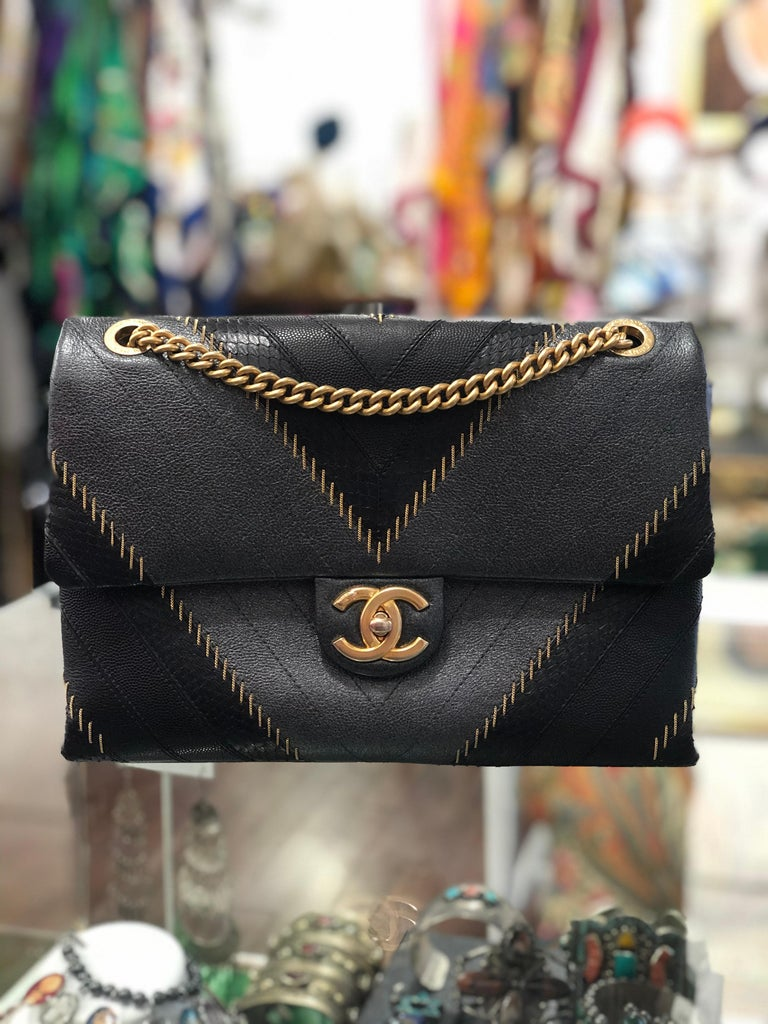 2017 Rare Chanel Mixed Leathers Classic Single Flap Bag  13