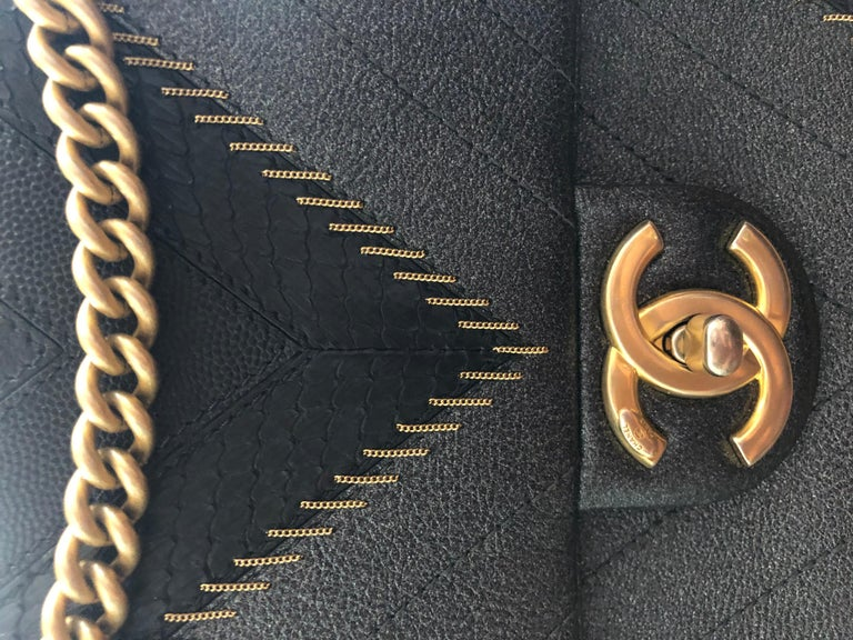 2017 Rare Chanel Mixed Leathers Classic Single Flap Bag  14