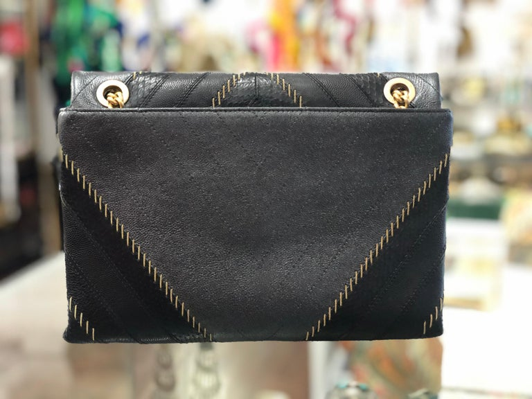 2017 Rare Chanel Mixed Leathers Classic Single Flap Bag  15