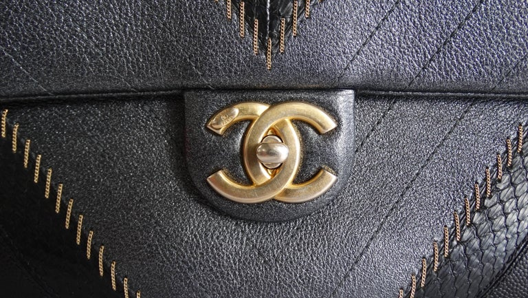 2017 Rare Chanel Mixed Leathers Classic Single Flap Bag  In Good Condition In Scottsdale, AZ