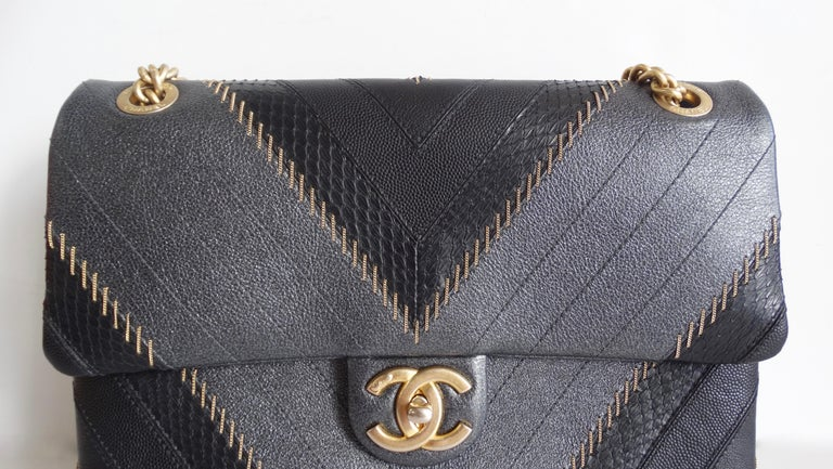 2017 Rare Chanel Mixed Leathers Classic Single Flap Bag  4