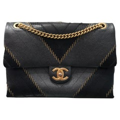 2017 Rare Chanel Mixed Leathers Classic Single Flap Bag