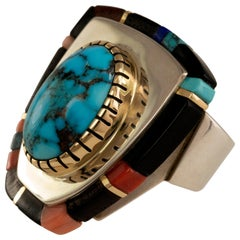 2017 Sonwai Turquoise, Lapis, Ebony, Coral, Gold and Silver Ring