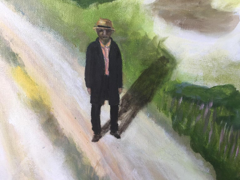 Contemporary, figurative, surrealistic oil on canvas painting by the Danish painter Bente Ørum, 2018.  Lonely Man Walking between the Moor and the Dunes   About the artist: Bente Ørum's paintings are figurative, often with a hint of surrealism.