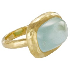 20.18 Carat Aquamarine Blue Sugarloaf Cabochon Gold Band Ring