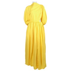 2018 CELINE by PHOEBE PHILO yellow linen maxi dress with cutout
