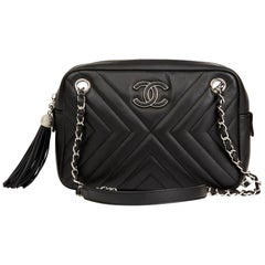 2018 Chanel Black Chevron Quilted Calfskin Leather Classic Fringe Camera Bag