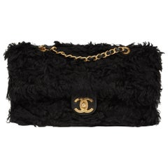 2018 Chanel Black Fantasy Fur Classic Foldover Flap Bag