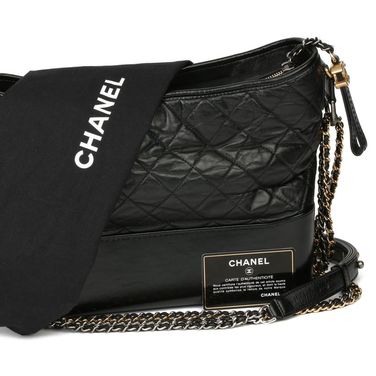 2018 Chanel Black Quilted Aged Calfskin Leather Gabrielle Hobo Bag For Sale 7