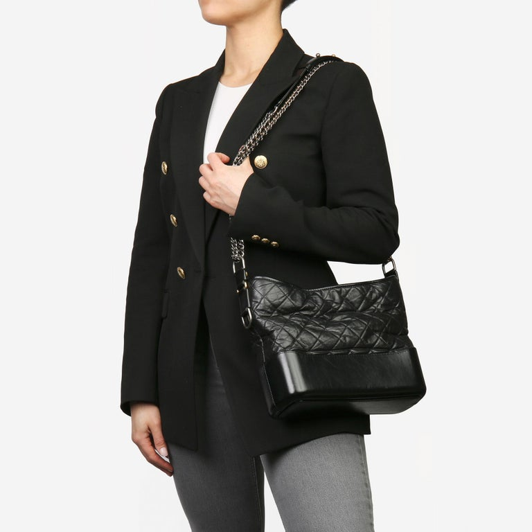 2018 Chanel Black Quilted Aged Calfskin Leather Gabrielle Hobo Bag For Sale 8