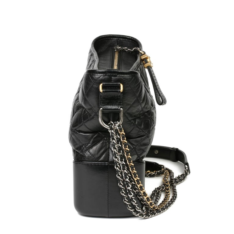 CHANEL Black Quilted Aged Calfskin Leather Gabrielle Hobo Bag  Xupes Reference: HB3880 Serial Number: 27785191 Age (Circa): 2018 Accompanied By: Chanel Dust Bag, Authenticity Card Authenticity Details: Authenticity Card, Serial Sticker (Made in