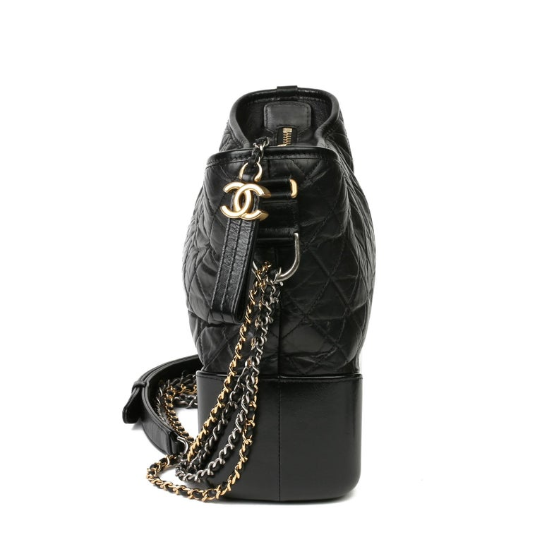 2018 Chanel Black Quilted Aged Calfskin Leather Gabrielle Hobo Bag In Excellent Condition For Sale In Bishop's Stortford, Hertfordshire