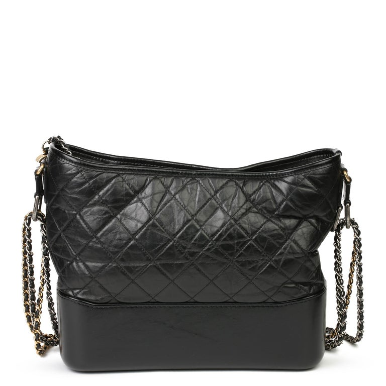 Women's 2018 Chanel Black Quilted Aged Calfskin Leather Gabrielle Hobo Bag For Sale