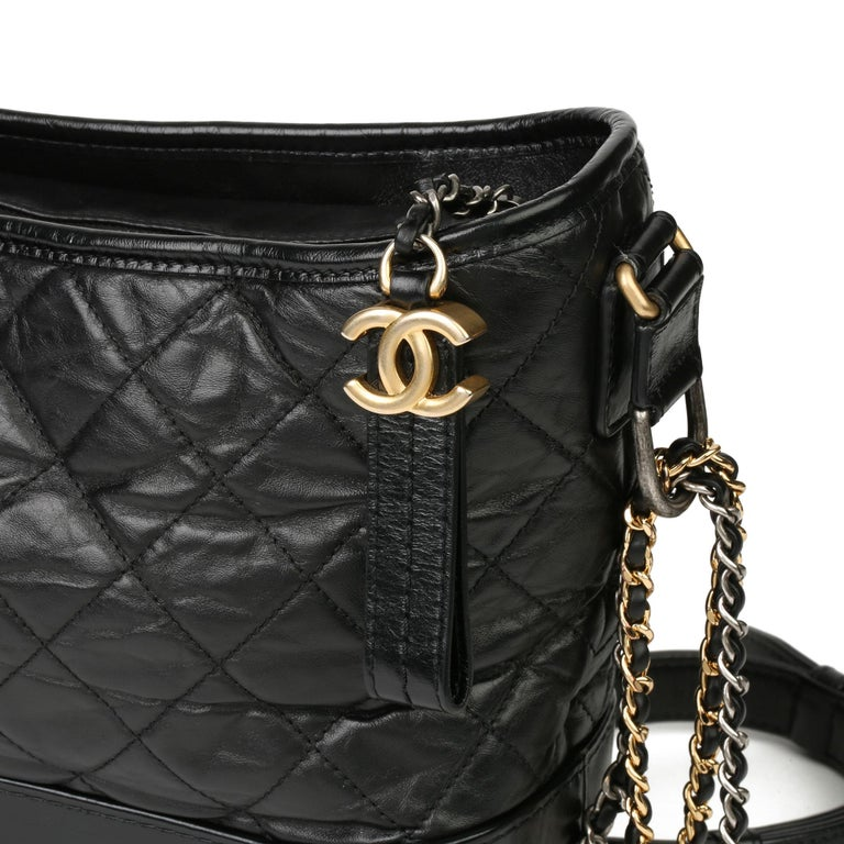 2018 Chanel Black Quilted Aged Calfskin Leather Gabrielle Hobo Bag For Sale 2
