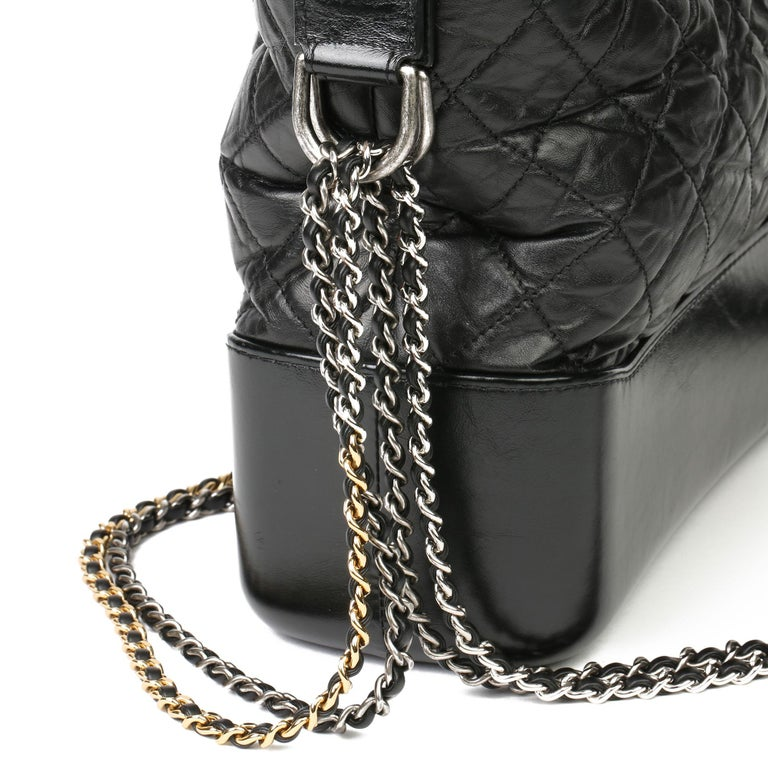 2018 Chanel Black Quilted Aged Calfskin Leather Gabrielle Hobo Bag For Sale 3