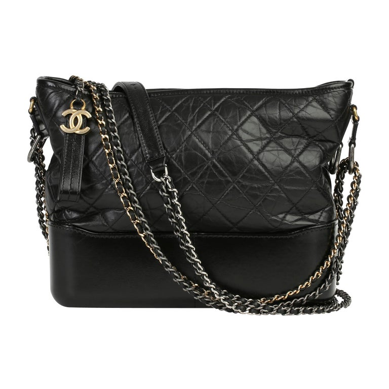2018 Chanel Black Quilted Aged Calfskin Leather Gabrielle Hobo Bag For Sale