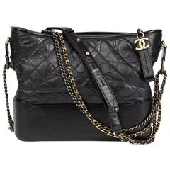 2018 Chanel Black Quilted Aged Calfskin Leather Gabrielle Hobo Bag