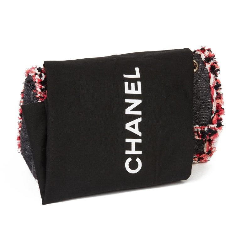 2018 Chanel Black Quilted Denim & Pink Tweed 2.55 Reissue 225 Double Flap Bag For Sale 8