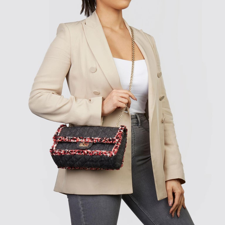 CHANEL  Black Quilted Denim & Pink Tweed 2.55 Reissue 225 Double Flap Bag  Xupes Reference: HB3614 Serial Number: 24033689 Age (Circa): 2018 Accompanied By: Chanel Dust Bag  Authenticity Details: Serial Sticker (Made in France)  Gender: Ladies Type: