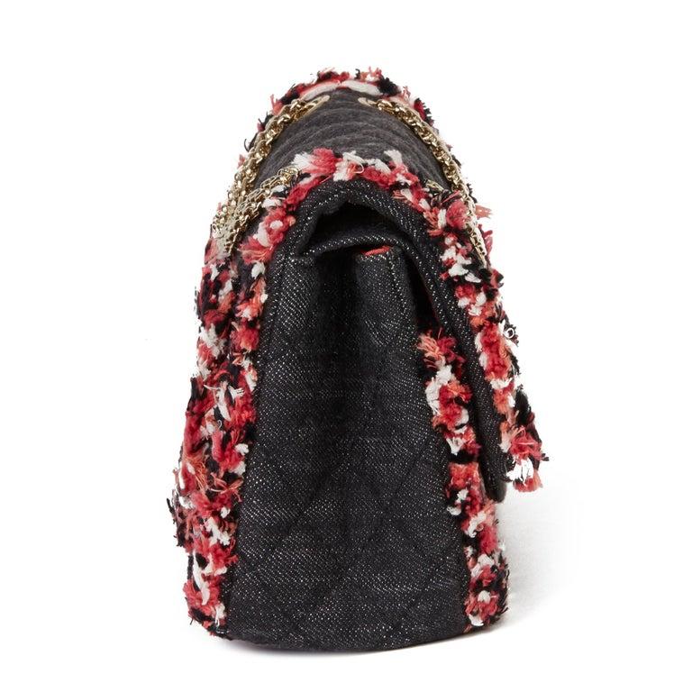 2018 Chanel Black Quilted Denim & Pink Tweed 2.55 Reissue 225 Double Flap Bag In Excellent Condition For Sale In Bishop's Stortford, Hertfordshire