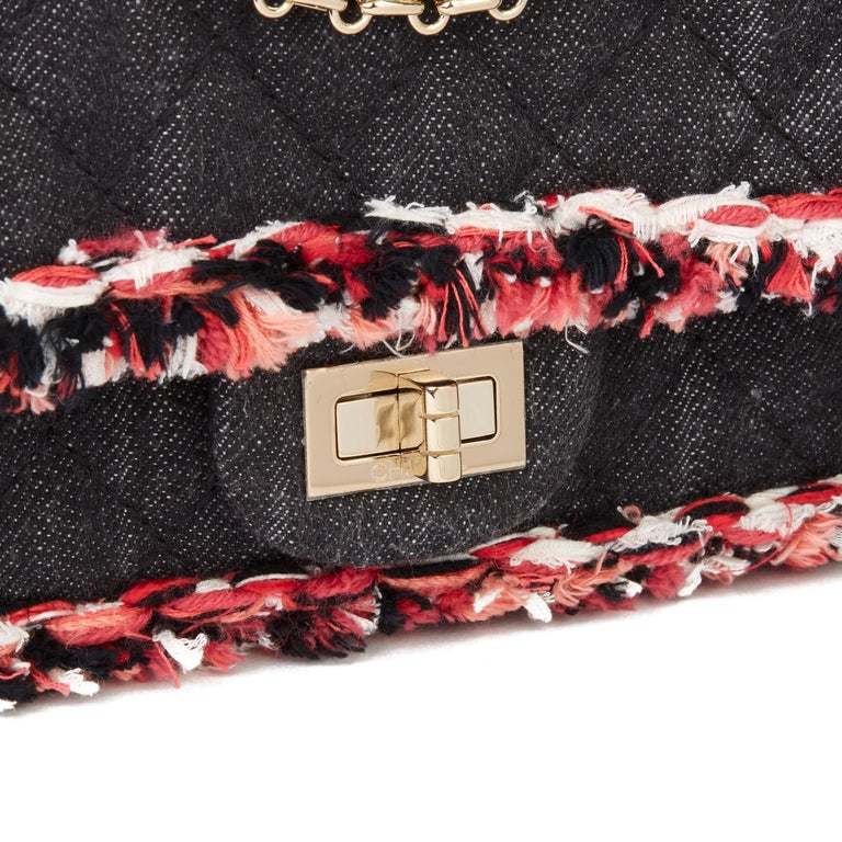 2018 Chanel Black Quilted Denim & Pink Tweed 2.55 Reissue 225 Double Flap Bag For Sale 3