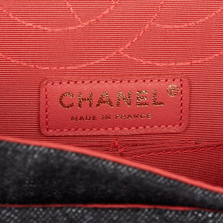 2018 Chanel Black Quilted Denim & Pink Tweed 2.55 Reissue 225 Double Flap Bag For Sale 5