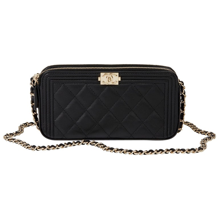 2018 Chanel Black Quilted Lambskin Double Zip Around Le Boy Wallet-on-Chain WOC For Sale