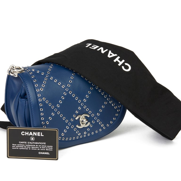 2018 Chanel Blue Quilted Calfskin Coco Eyelets Round Flap Bag For Sale 7