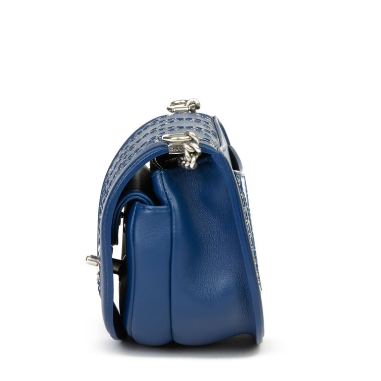 2018 Chanel Blue Quilted Calfskin Coco Eyelets Round Flap Bag In Excellent Condition For Sale In Bishop's Stortford, Hertfordshire