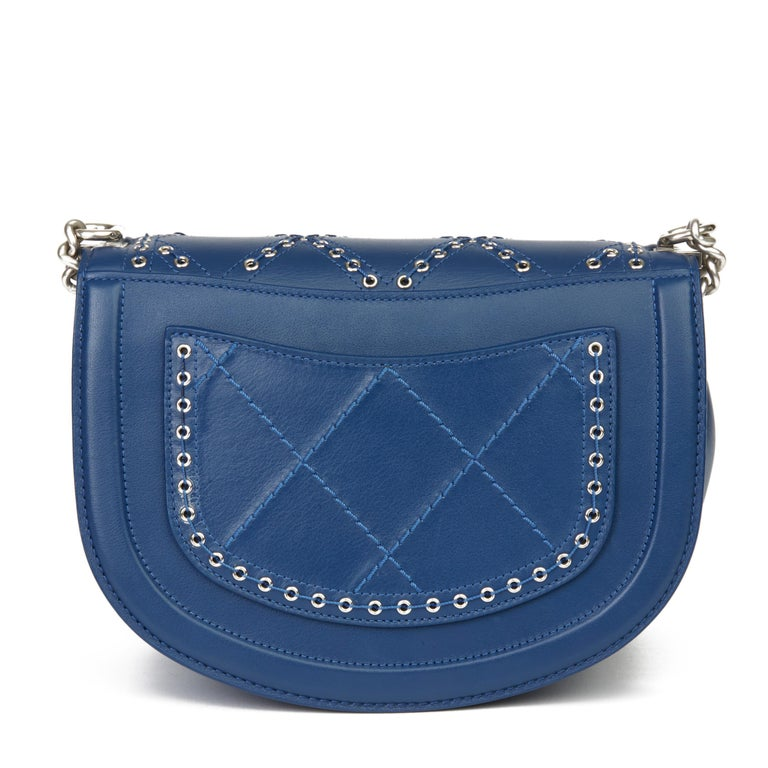 Women's 2018 Chanel Blue Quilted Calfskin Coco Eyelets Round Flap Bag For Sale
