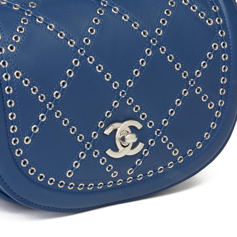 2018 Chanel Blue Quilted Calfskin Coco Eyelets Round Flap Bag For Sale 2