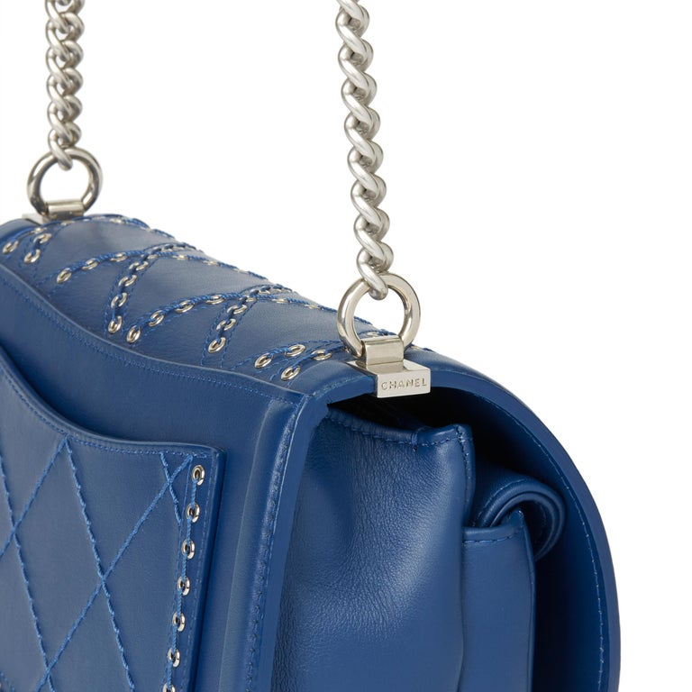 2018 Chanel Blue Quilted Calfskin Coco Eyelets Round Flap Bag For Sale 3