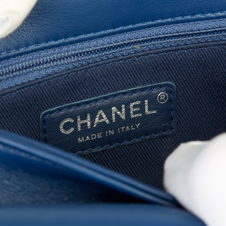 2018 Chanel Blue Quilted Calfskin Coco Eyelets Round Flap Bag For Sale 4