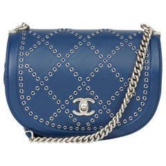 2018 Chanel Blue Quilted Calfskin Coco Eyelets Round Flap Bag