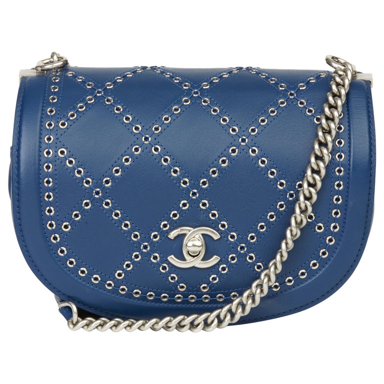 2018 Chanel Blue Quilted Calfskin Coco Eyelets Round Flap Bag For Sale