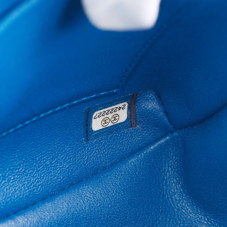 2018 Chanel Blue Quilted Calfskin Leather Classic Single Flap Bag  For Sale 6
