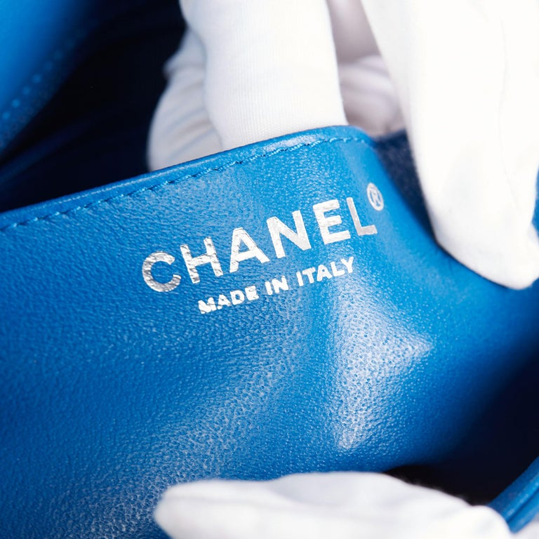 2018 Chanel Blue Quilted Calfskin Leather Classic Single Flap Bag  For Sale 7
