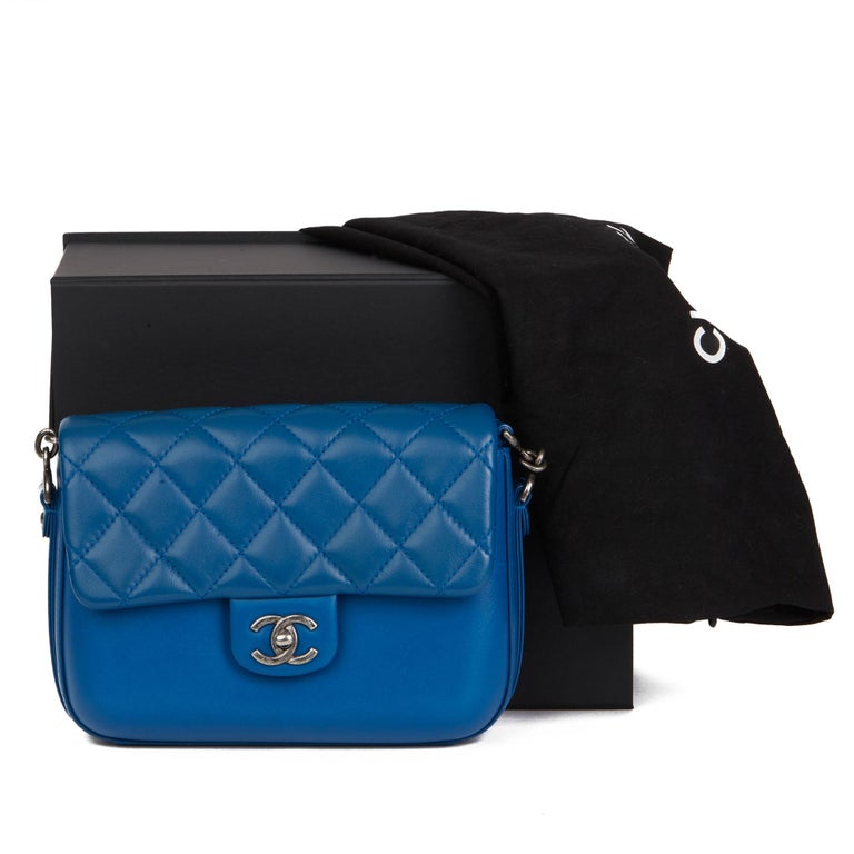 2018 Chanel Blue Quilted Calfskin Leather Classic Single Flap Bag  For Sale 8