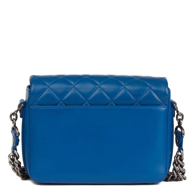 2018 Chanel Blue Quilted Calfskin Leather Classic Single Flap Bag  For Sale 1