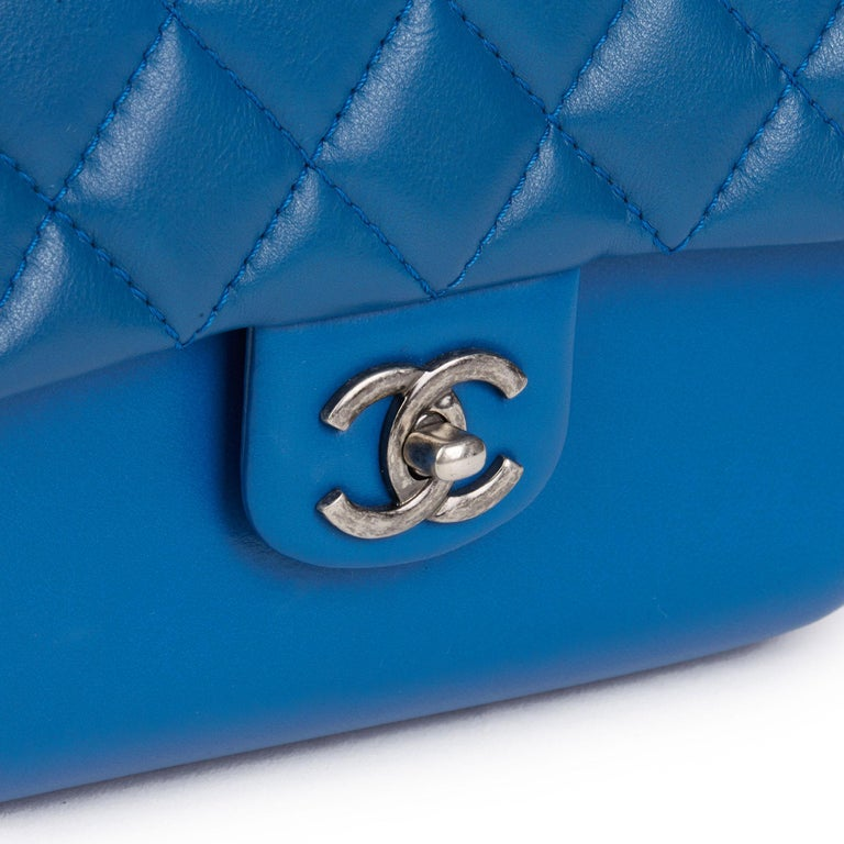 2018 Chanel Blue Quilted Calfskin Leather Classic Single Flap Bag  For Sale 3