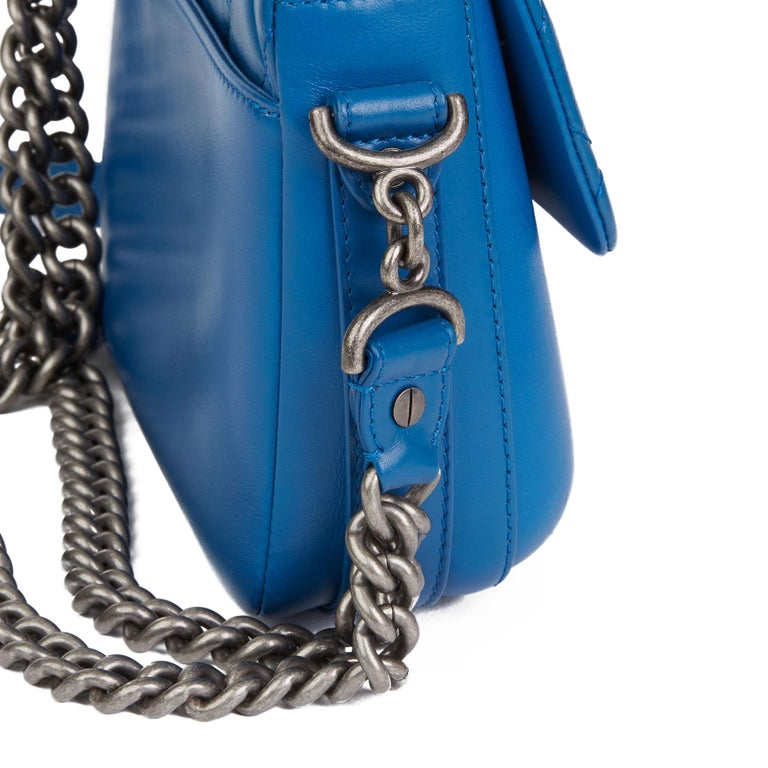 2018 Chanel Blue Quilted Calfskin Leather Classic Single Flap Bag  For Sale 4