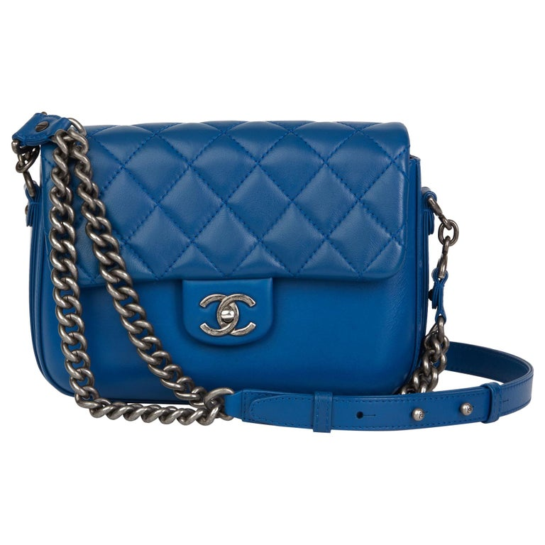 2018 Chanel Blue Quilted Calfskin Leather Classic Single Flap Bag  For Sale