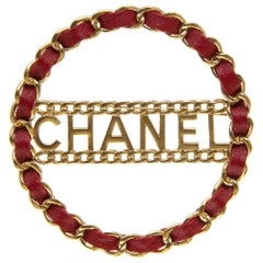 2018 Chanel gold tone Red leather brooch pin