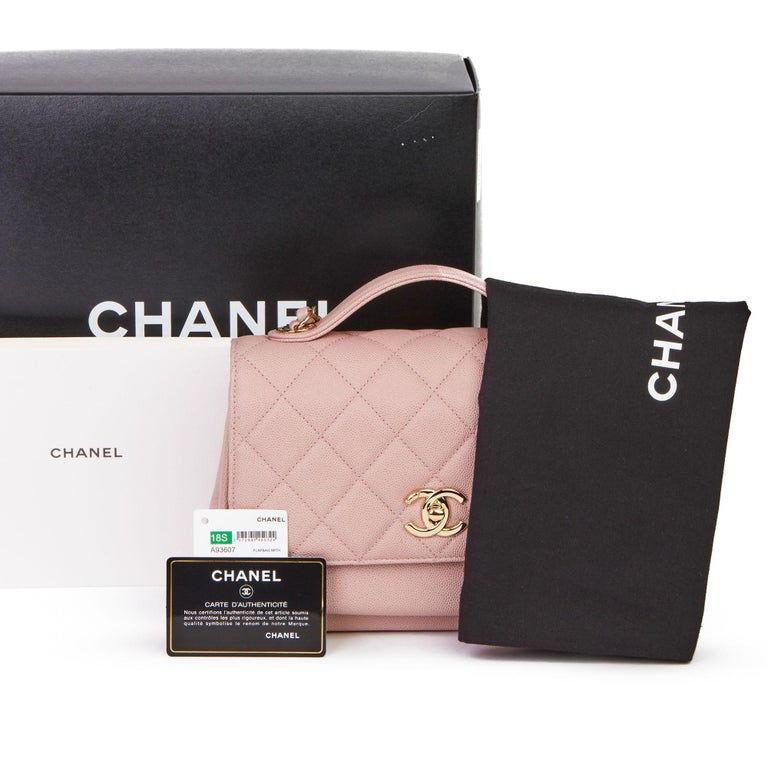 2018 Chanel Light Dusky Pink Quilted Caviar Medium Business Affinity Flap Bag For Sale 8