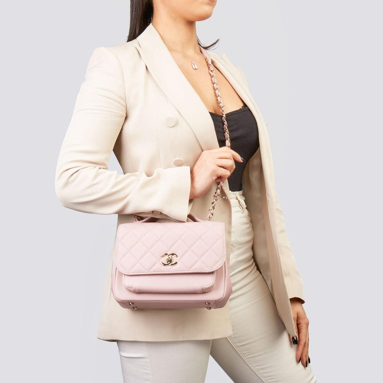 CHANEL Light Dusky Pink Quilted Caviar Leather Medium Business Affinity Flap Bag   Xupes Reference: HB3551 Serial Number: 25822036 Age (Circa): 2018 Accompanied By: Chanel Dust Bag, Box, Authenticity Card, Tag, Care Booklet Authenticity Details: