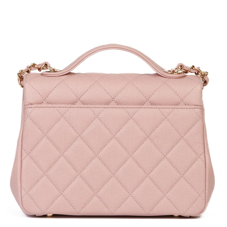 2018 Chanel Light Dusky Pink Quilted Caviar Medium Business Affinity Flap Bag For Sale 1